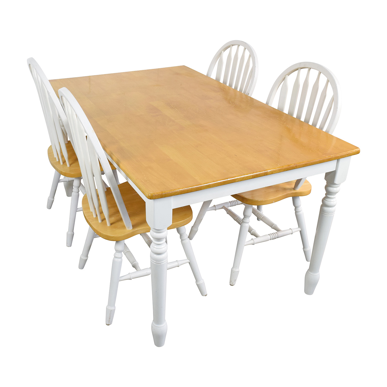 White and Natural Wood Color Dining set second hand