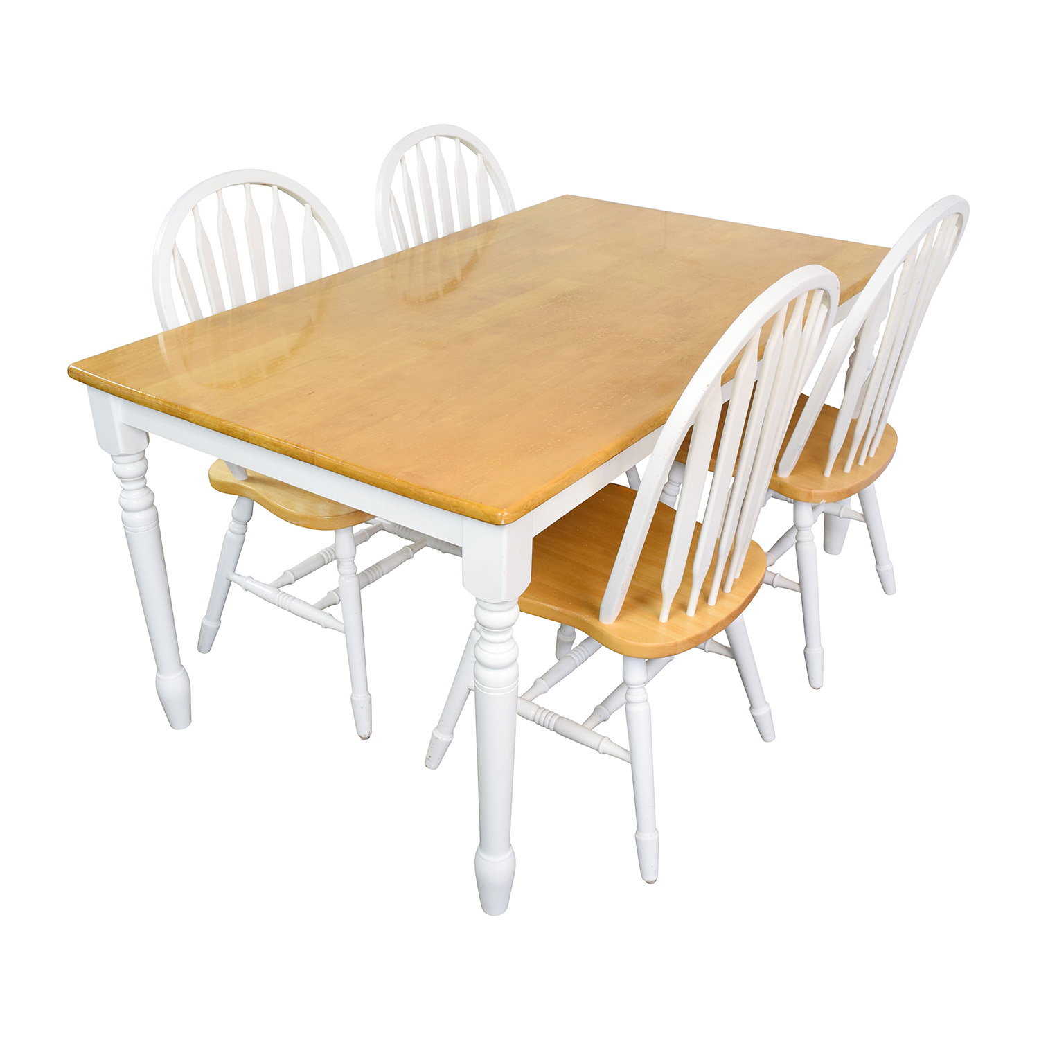 buy White and Natural Wood Color Dining set