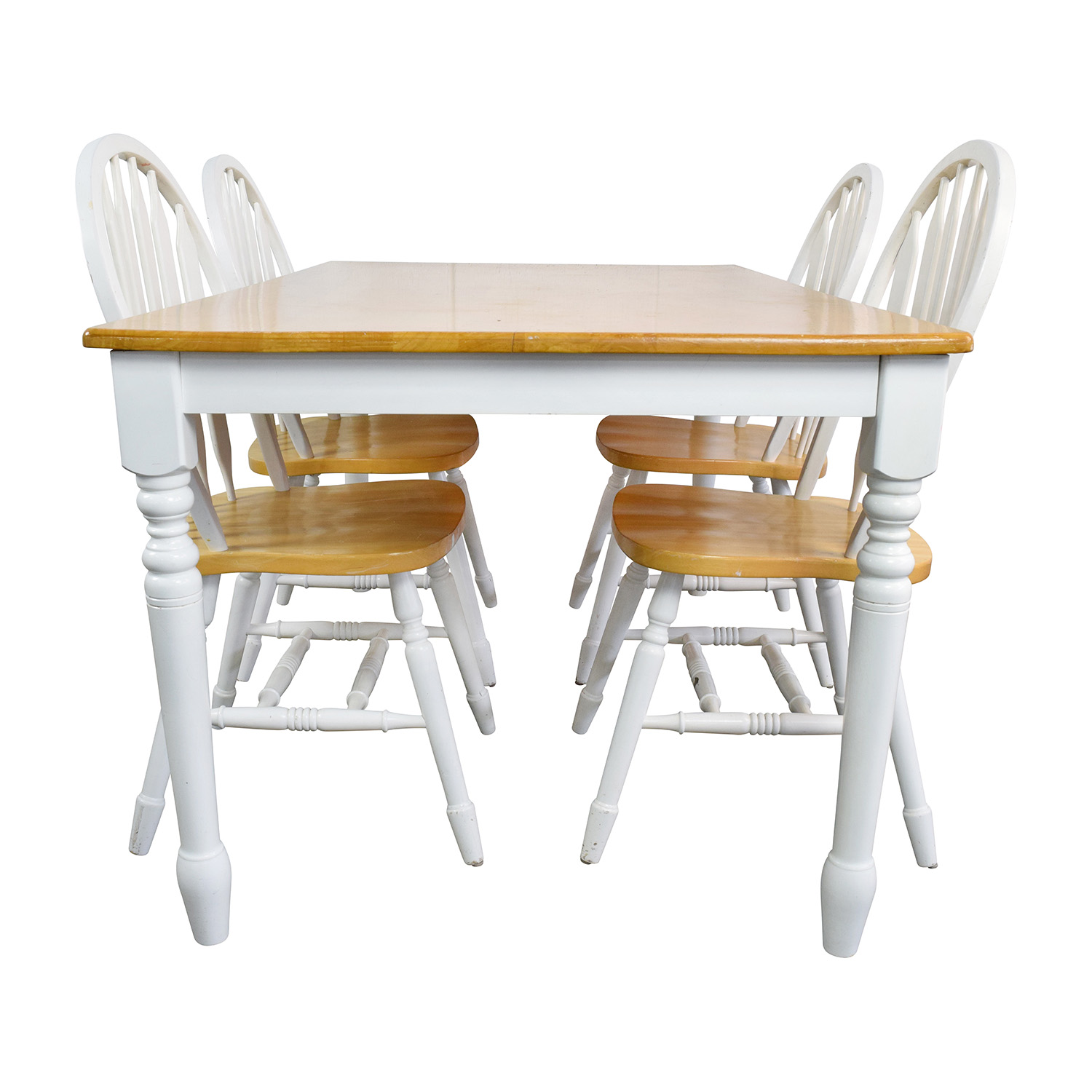 shop White and Natural Wood Color Dining set