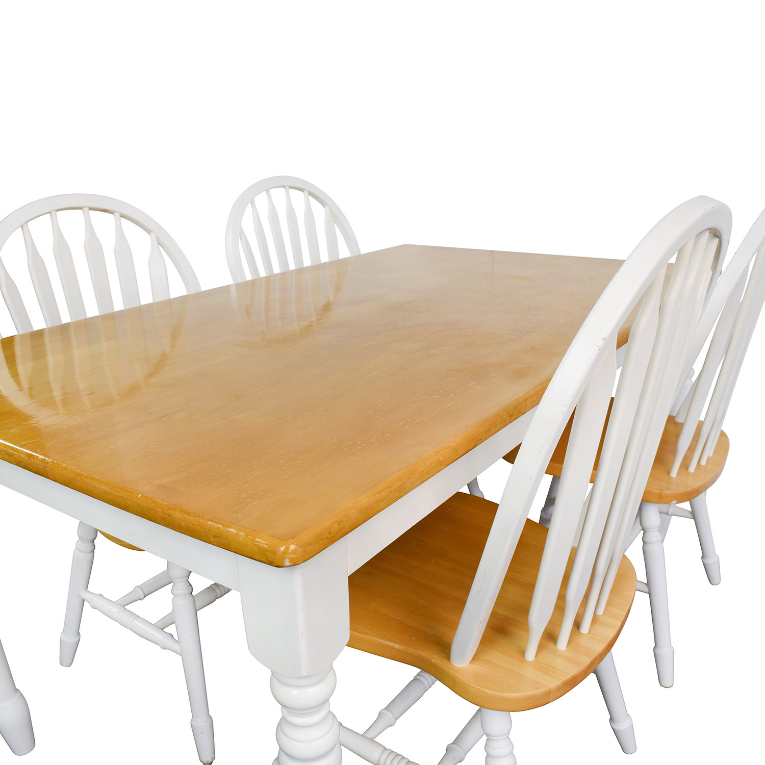 63 Off White And Natural Wood Color Dining Set Tables