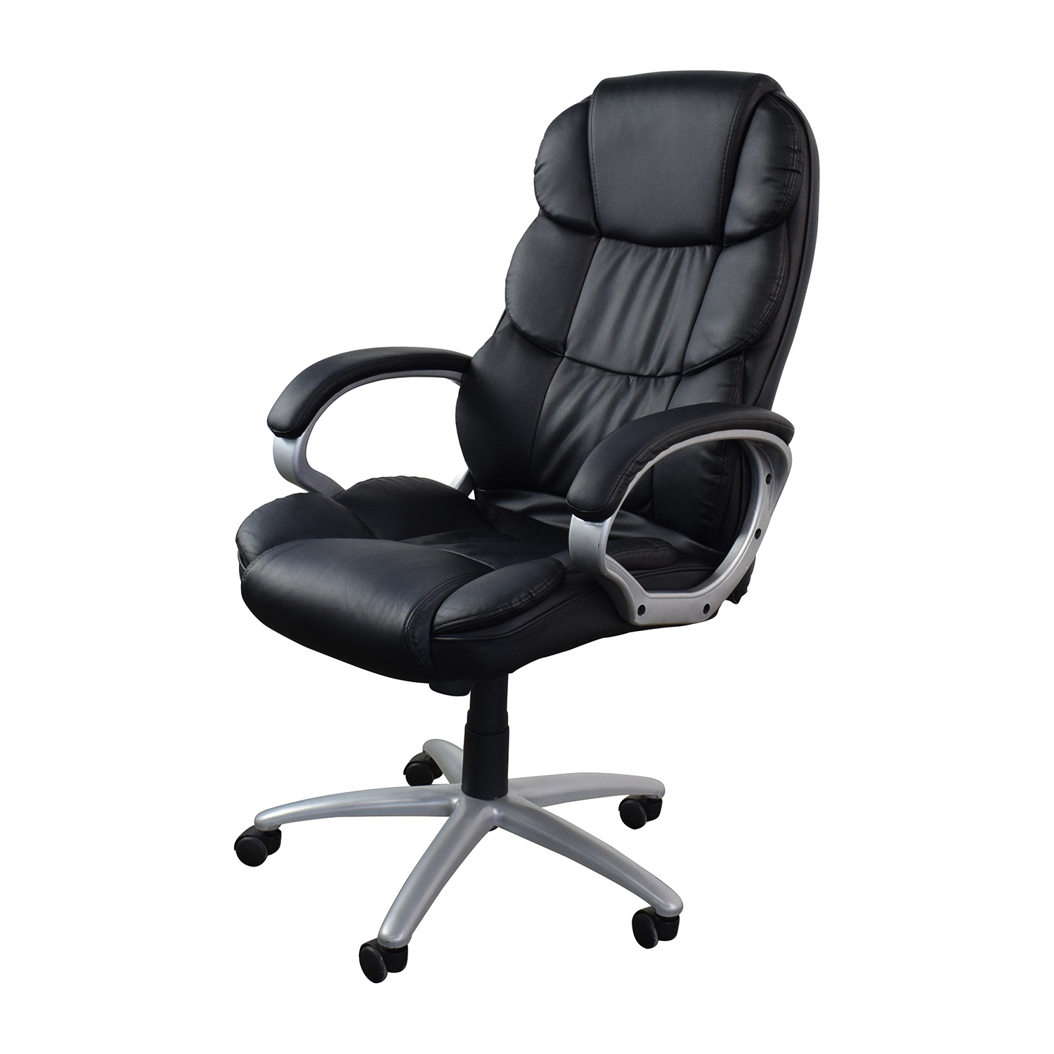 57 off black leather executive office chair chairs for Home office chairs leather