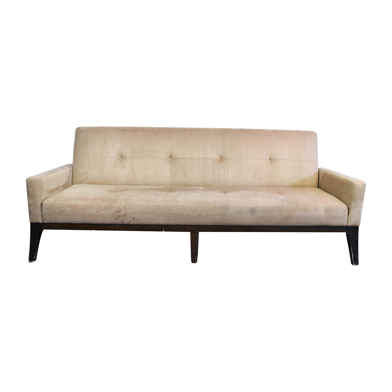 82% off - crate and barrel crate & barrel beige tufted futon sofa