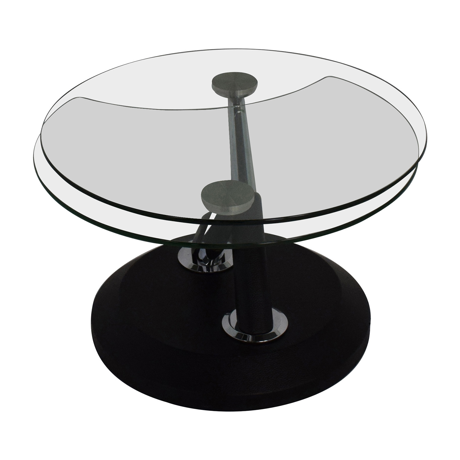 shop Raymour & Flanigan Modesto Glass Swivel Coffee Table Raymour and Flanigan Tables