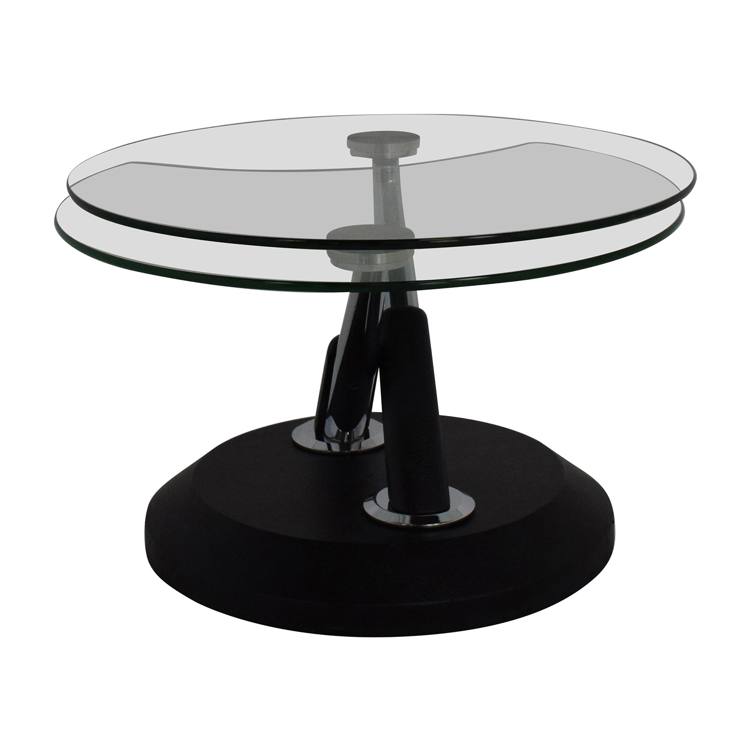 Raymour And Flanigan Modesto Glass Swivel Coffee Table
