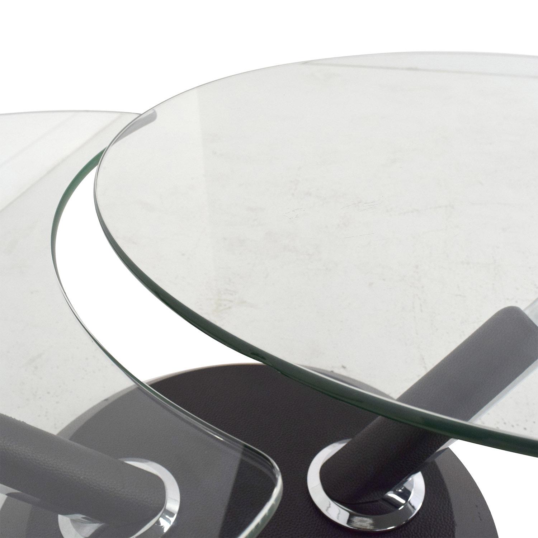 Raymour & Flanigan Modesto Glass Swivel Coffee Table / Coffee Tables