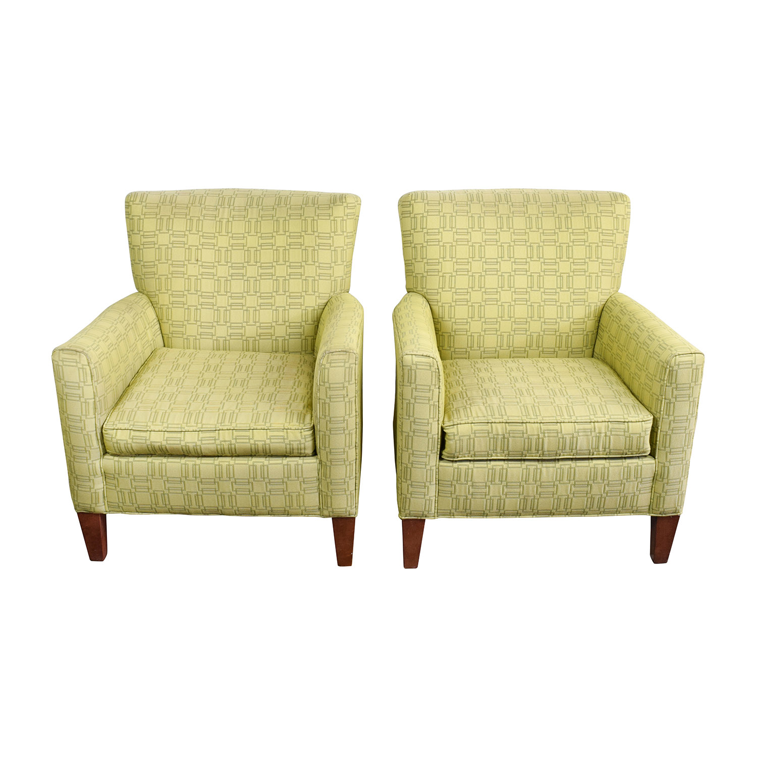 Ethan Allen Ethan Allen Green Upholstered Accent Chairs second hand
