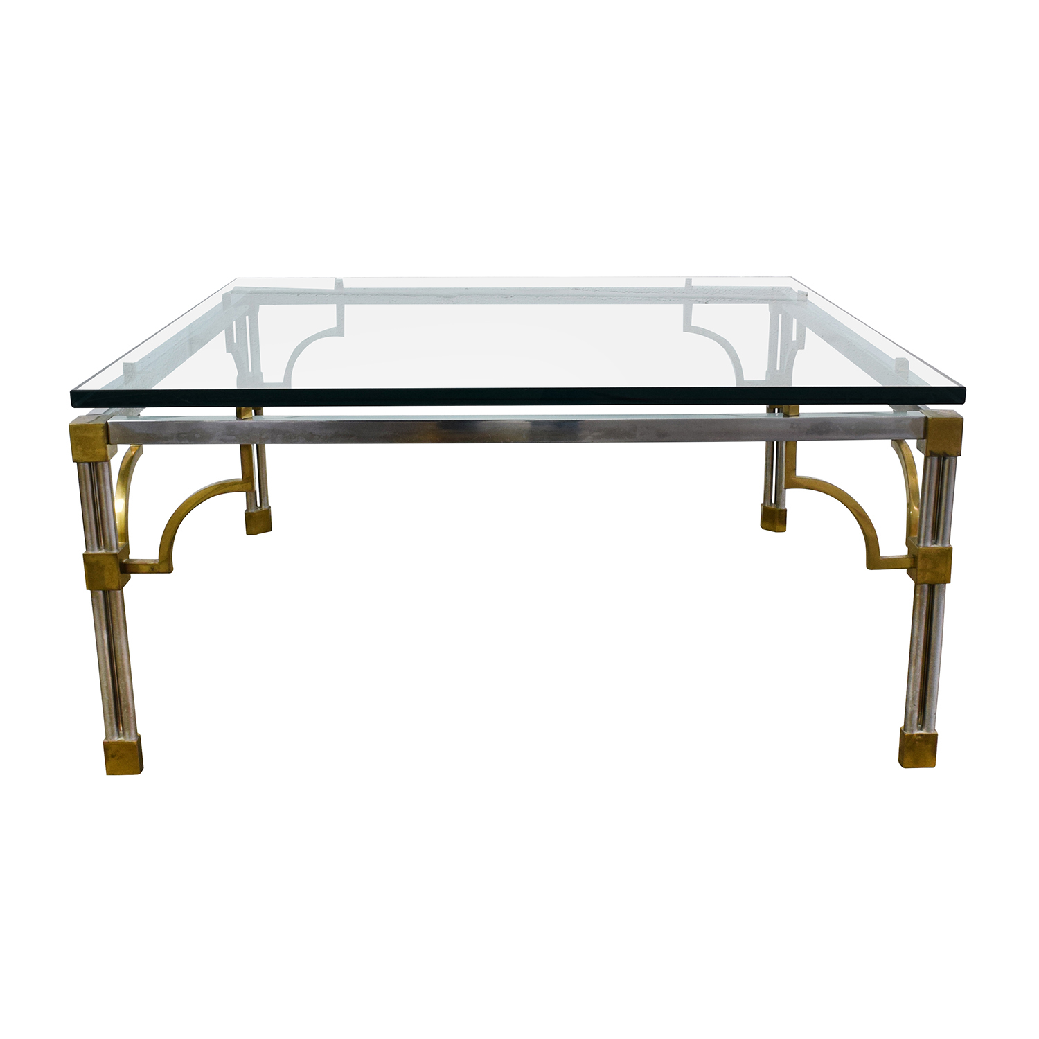 90 off vintage brass and glass coffee table tables Used glass coffee table