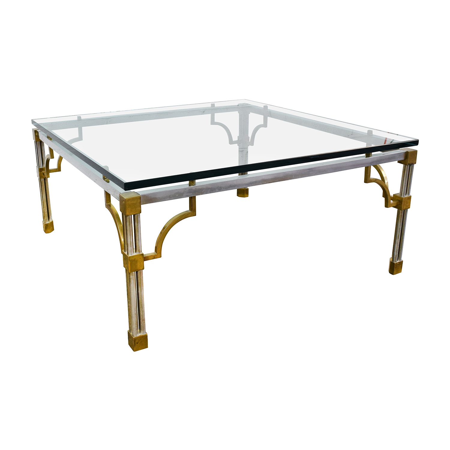 90 off vintage brass and glass coffee table tables Antique brass coffee table