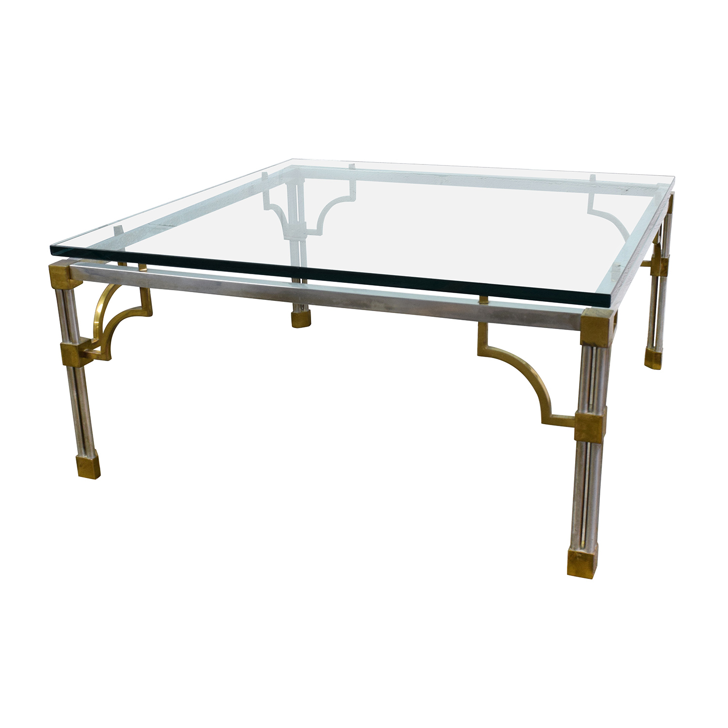 90 Off Vintage Brass And Glass Coffee Table Tables