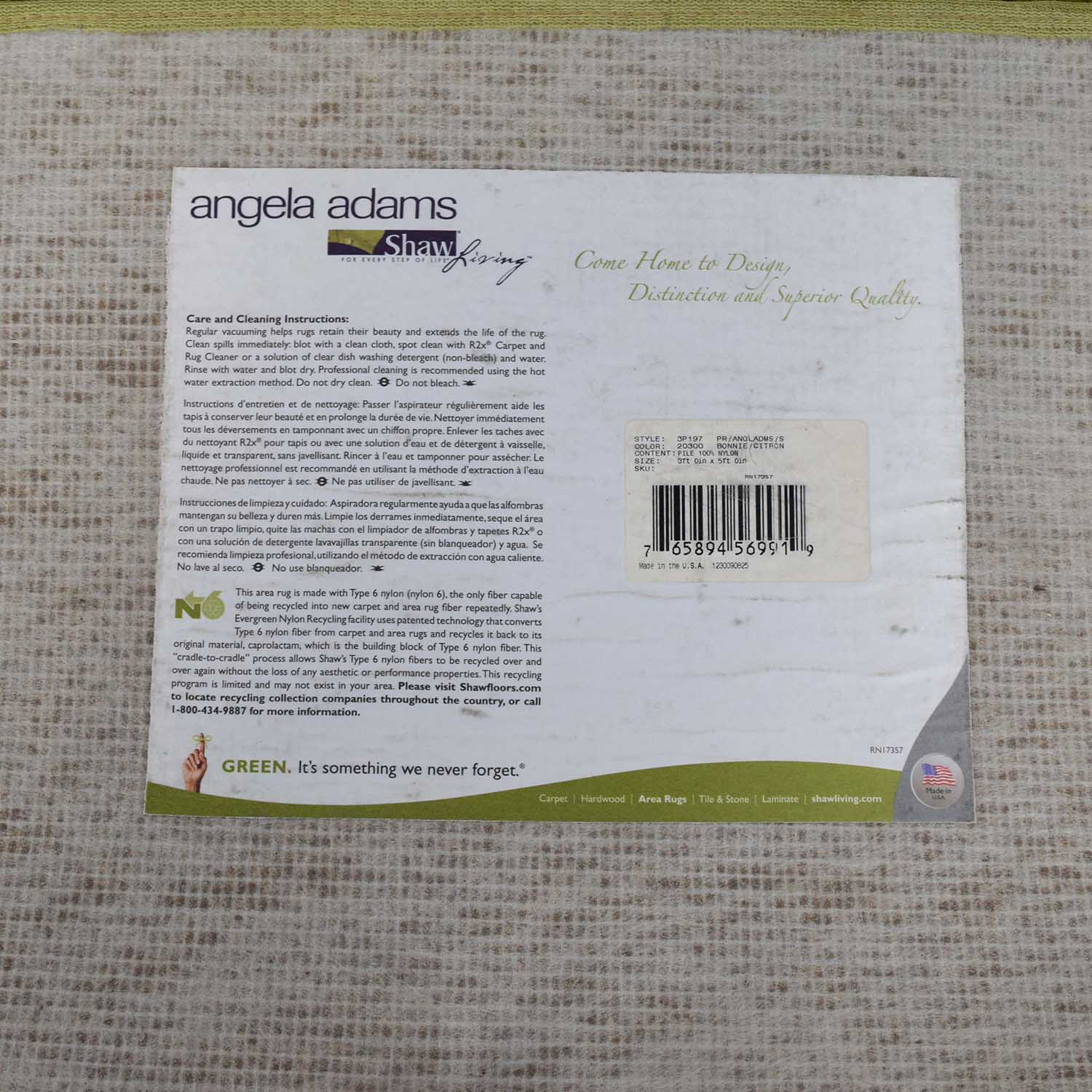 Shaw Living Angela Adams for Shaw Living Two-Toned Green Rug discount