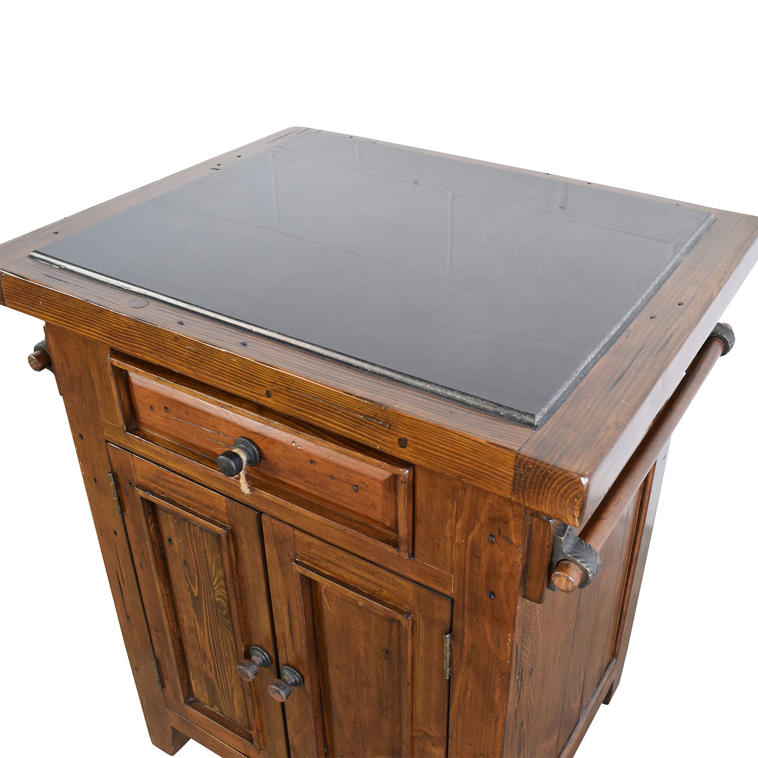 Wood Kitchen Island with Black Marble Top second hand