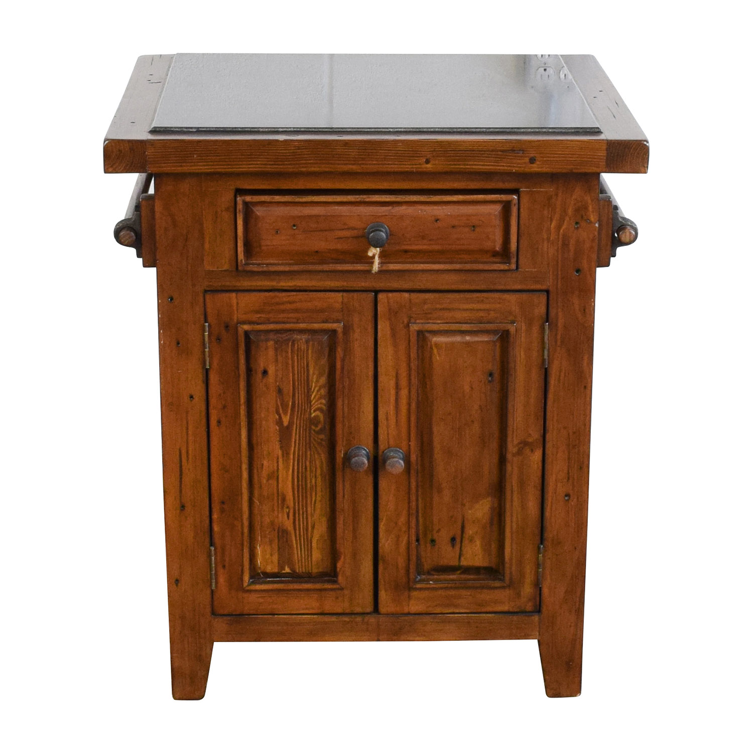 Wood Kitchen Island with Black Marble Top used