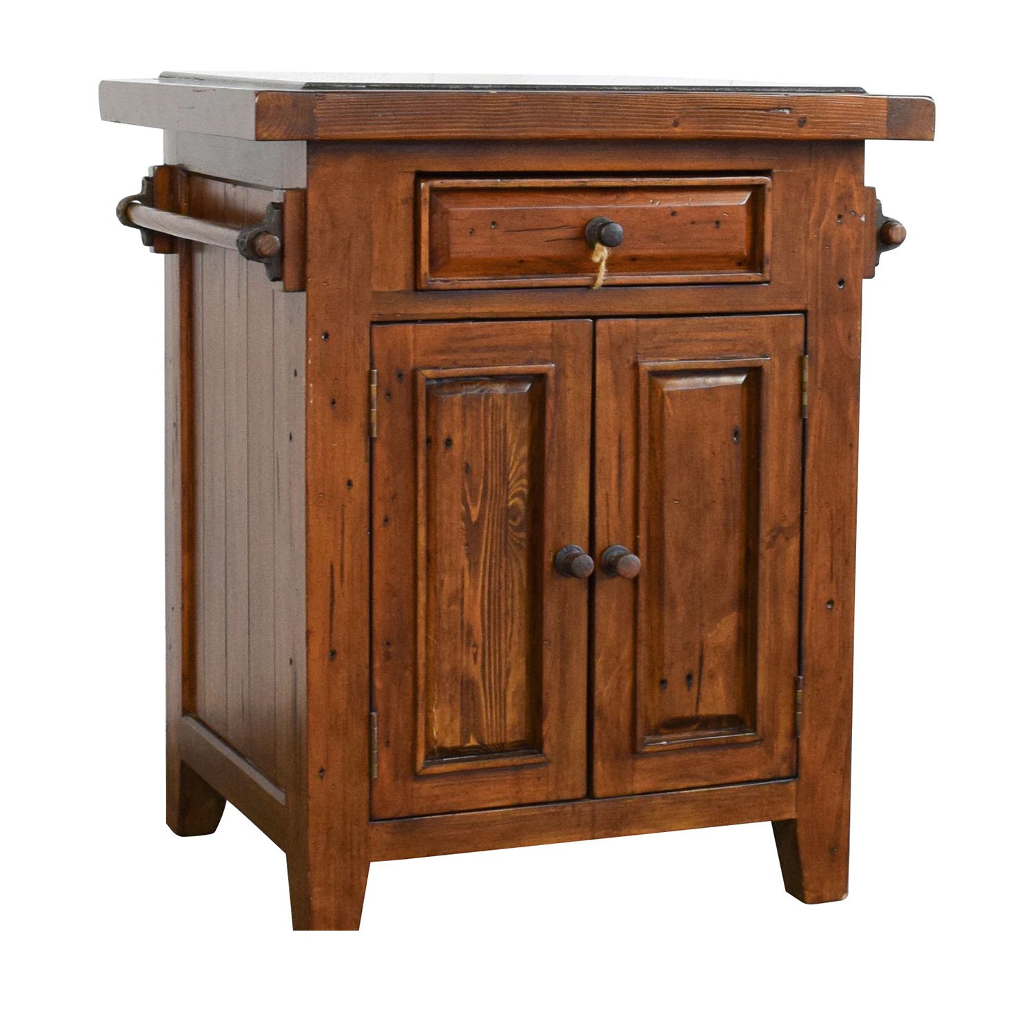 buy Wood Kitchen Island with Black Marble Top online