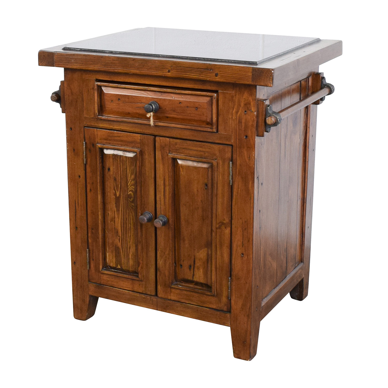 Wood Kitchen Island With Black Marble Top / Tables