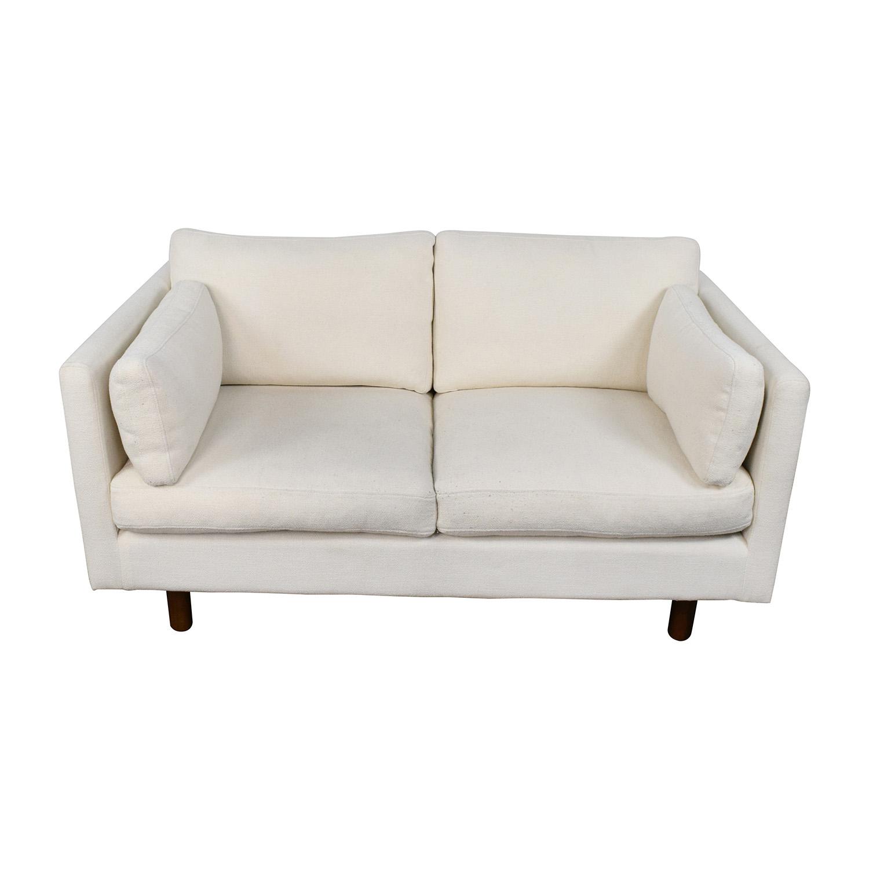 buy Nova White Danish Style Loveseat Nova
