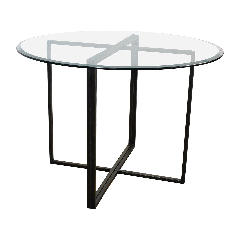 76% OFF   Crate U0026 Barrel Crate U0026 Barrel Everitt Glass Top Dining Table /  Tables