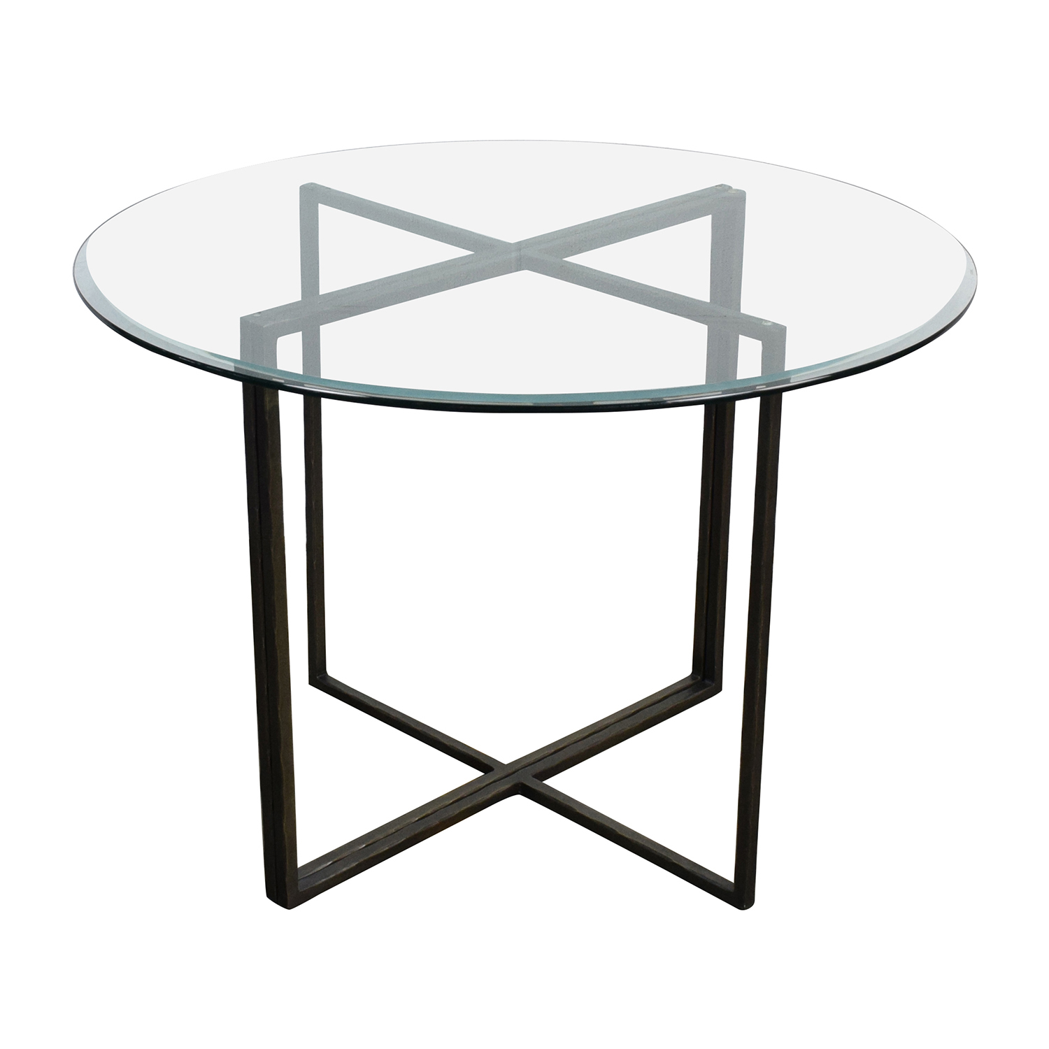 Crate and Barrel Crate & Barrel Everitt Glass Top Dining Table for sale