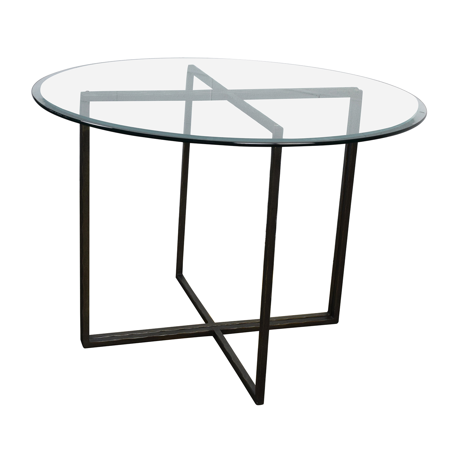 76 off crate and barrel crate barrel everitt glass top dining table tables. Black Bedroom Furniture Sets. Home Design Ideas