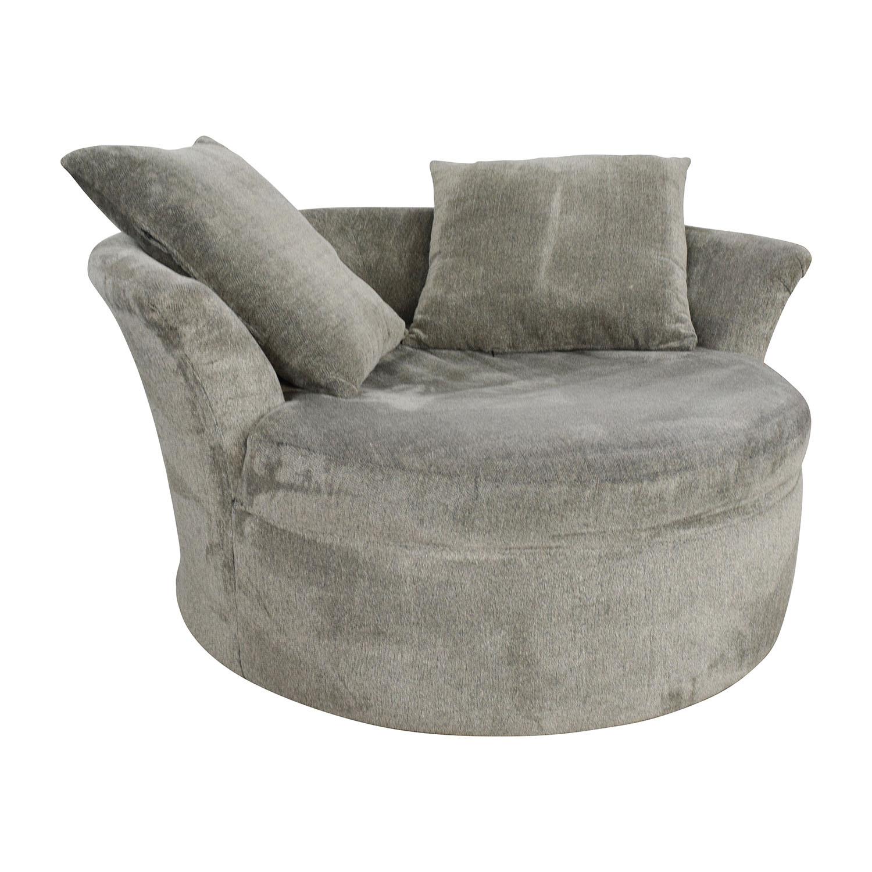 Bobs Furniture Grey Circular Loveseat