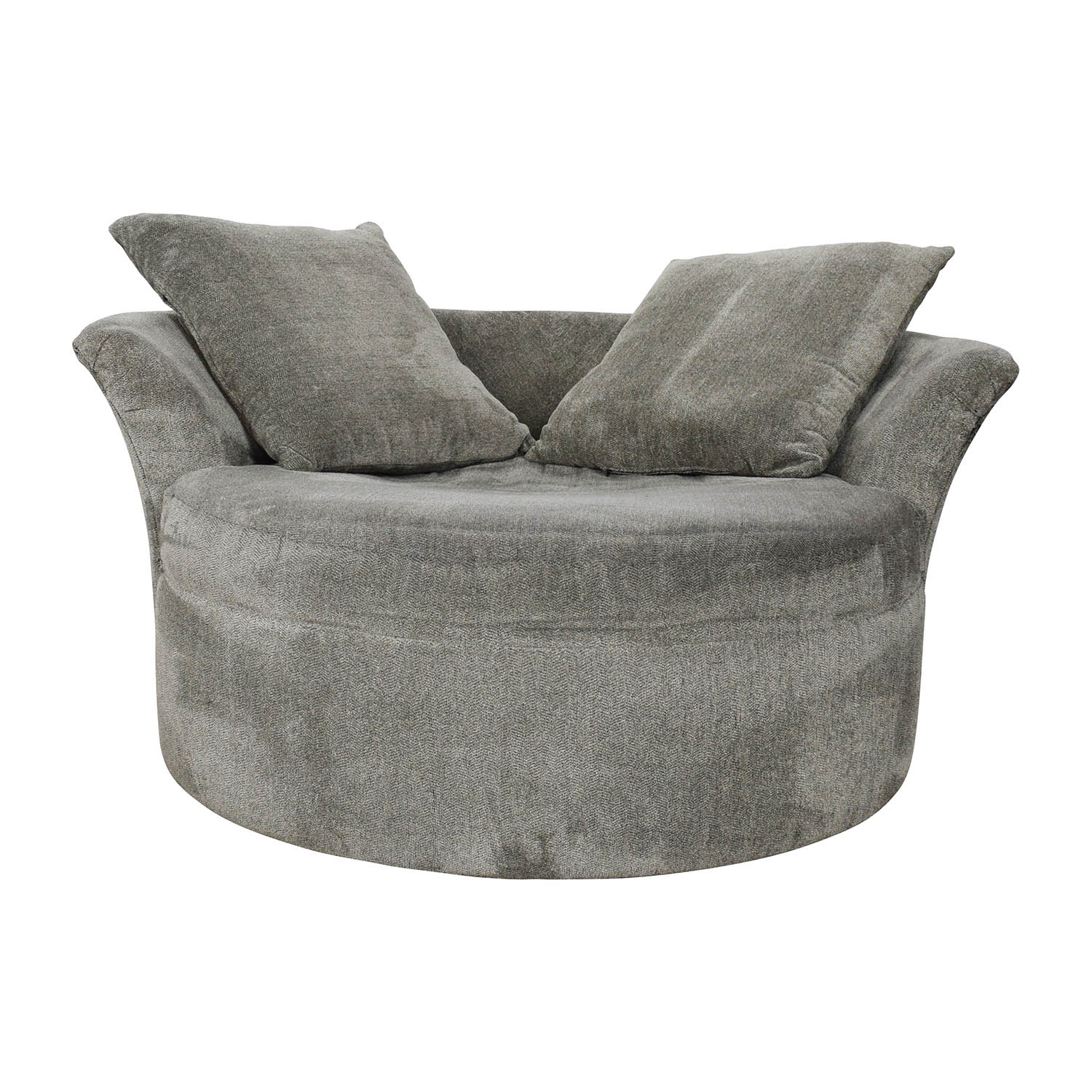 Bobs Furniture Bobs Furniture Grey Circular Loveseat coupon