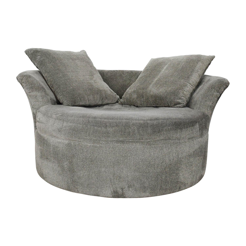 83% OFF   Bobu0027s Discount Furniture Bobu0027s Furniture Grey Circular Loveseat /  Sofas