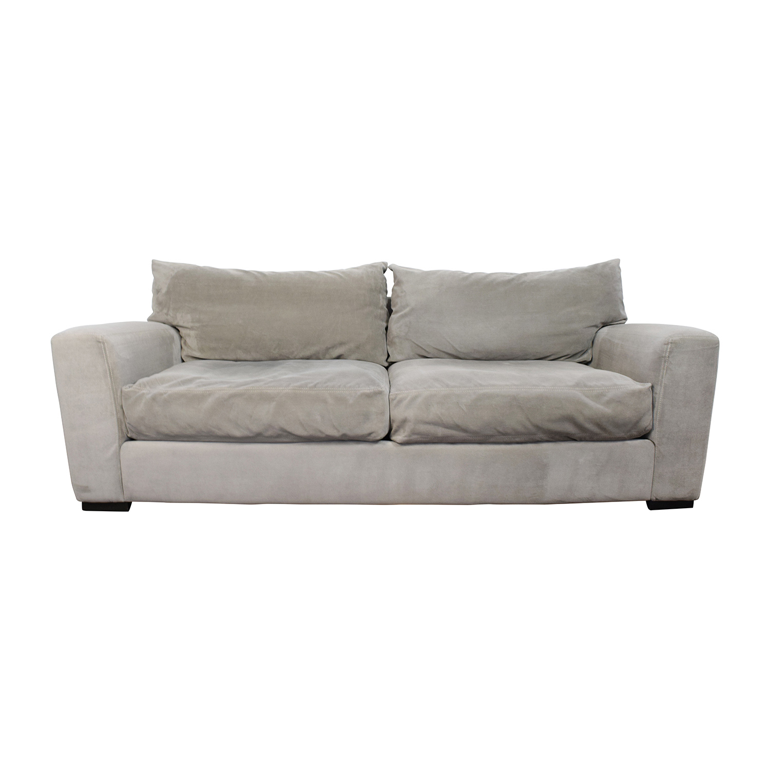 73% OFF - Raymour & Flanigan Raymour & Flanigan Carlin Grey Microfiber Sofa  / Sofas