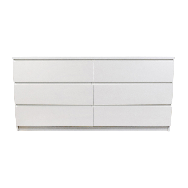 check out 28e59 7a89d 26% OFF - IKEA IKEA Malm 6-Drawer White Dresser / Storage