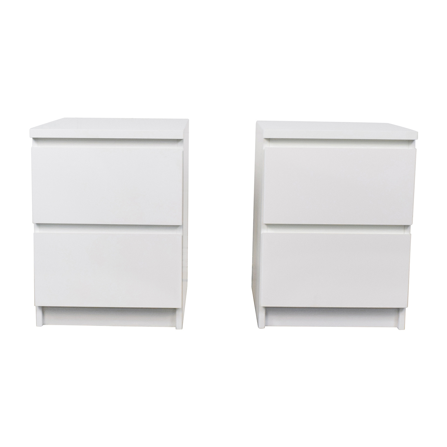 Ikea Malm White Two Drawer End Tables