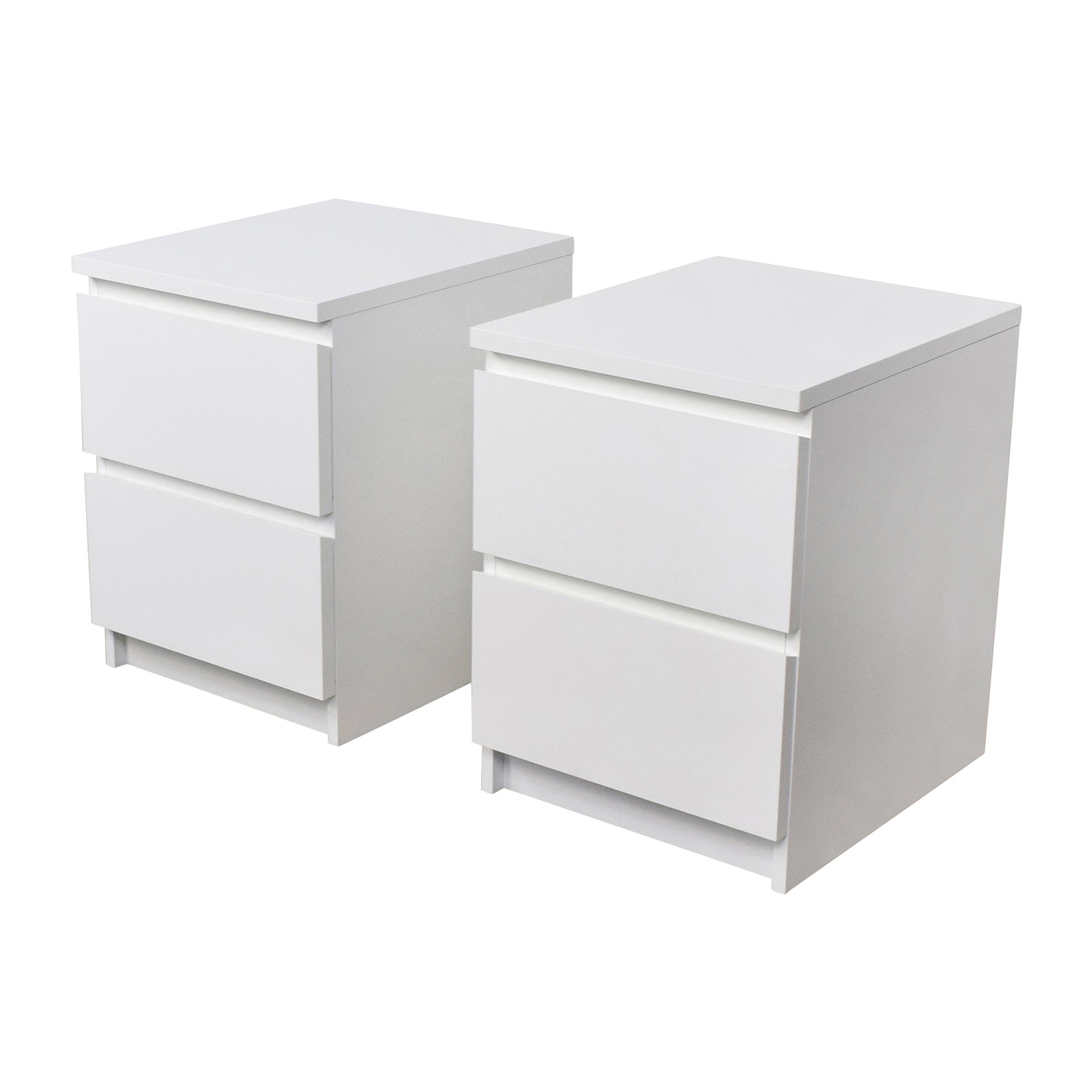 Ikea Malm White Two Drawer End Tables Nj