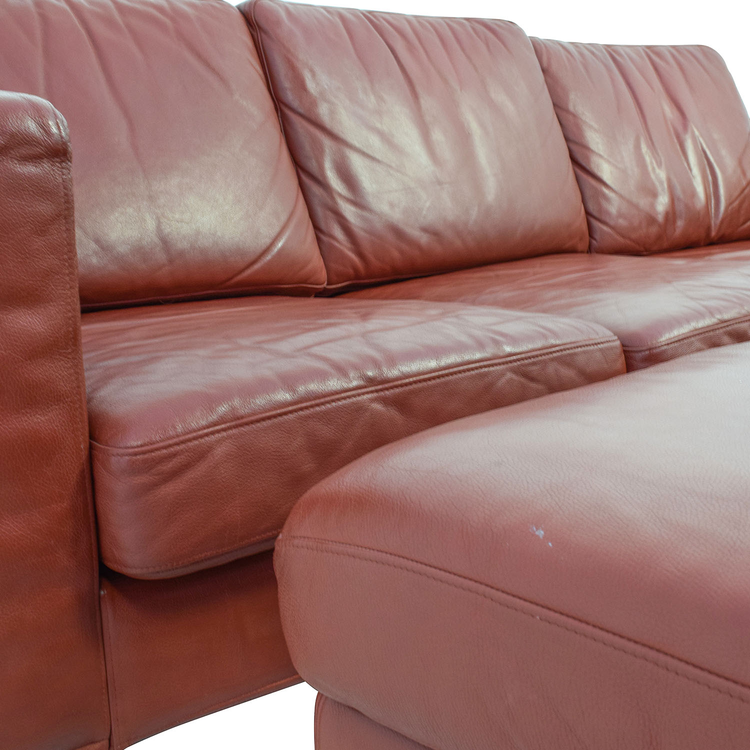 Contemporary Red Leather Couch and Ottoman / Sofas
