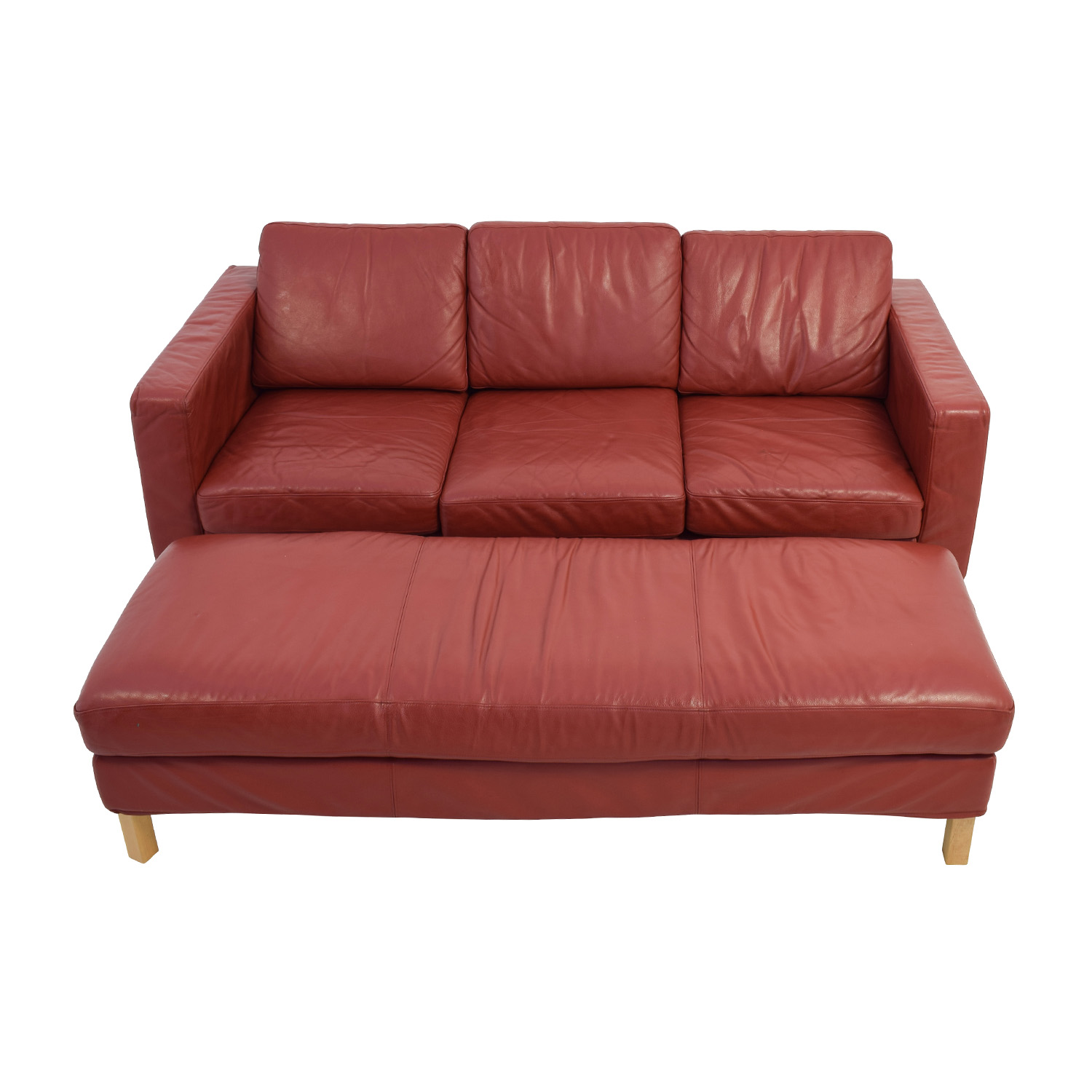 Contemporary Red Leather Couch and Ottoman Classic Sofas