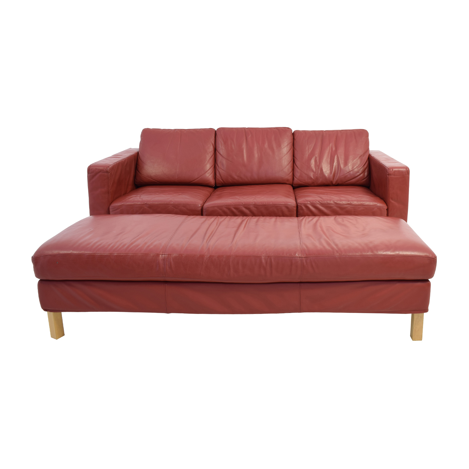 83% OFF - Contemporary Red Leather Couch and Ottoman / Sofas