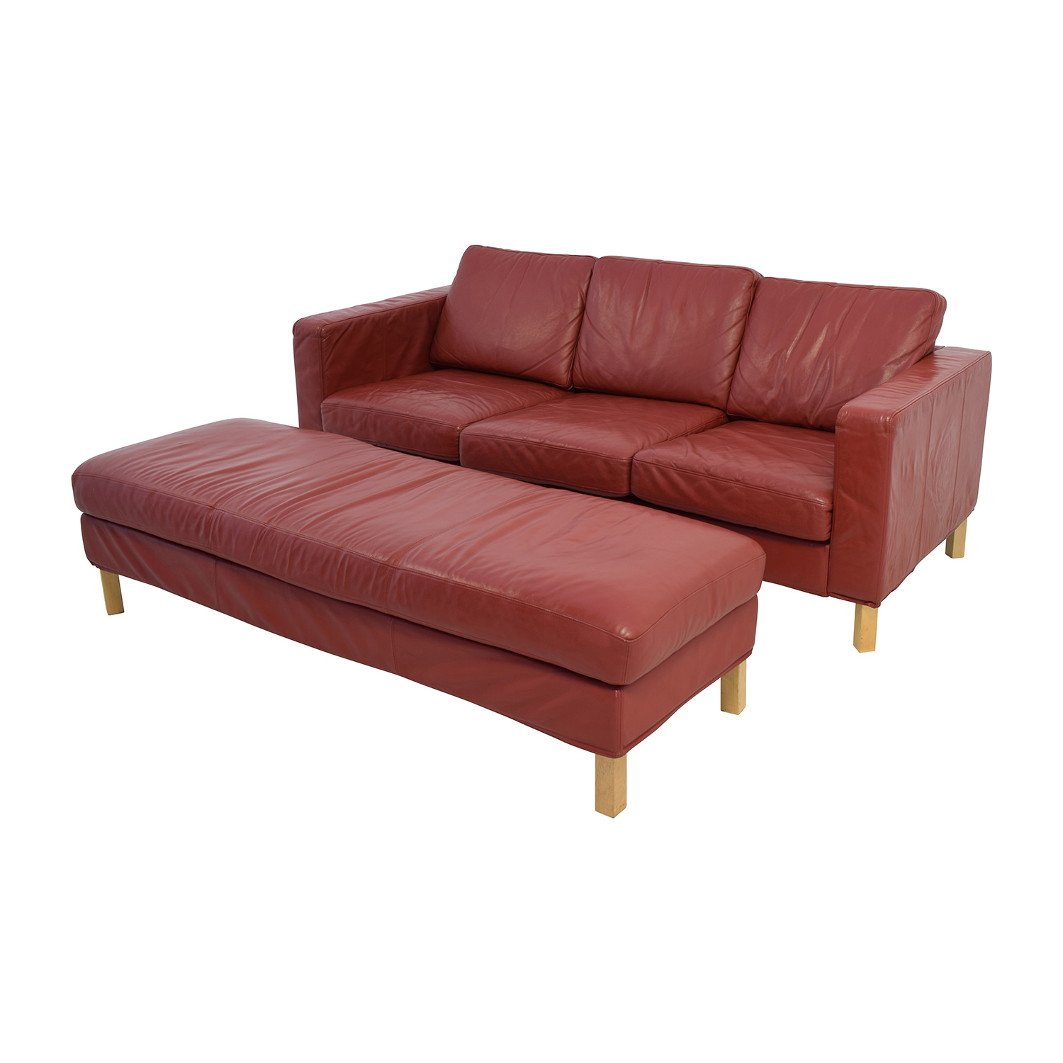 Contemporary Red Leather Couch and Ottoman dimensions