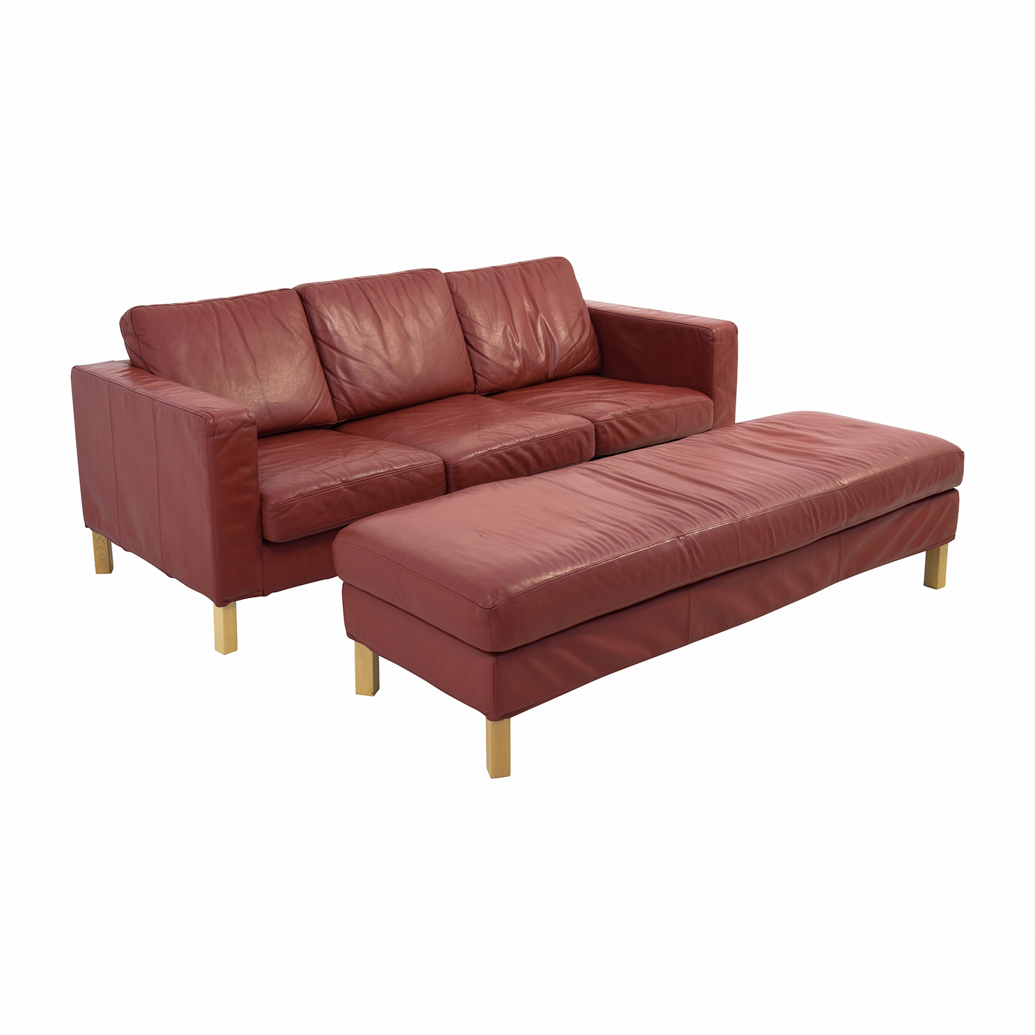 Contemporary Red Leather Couch and Ottoman sale