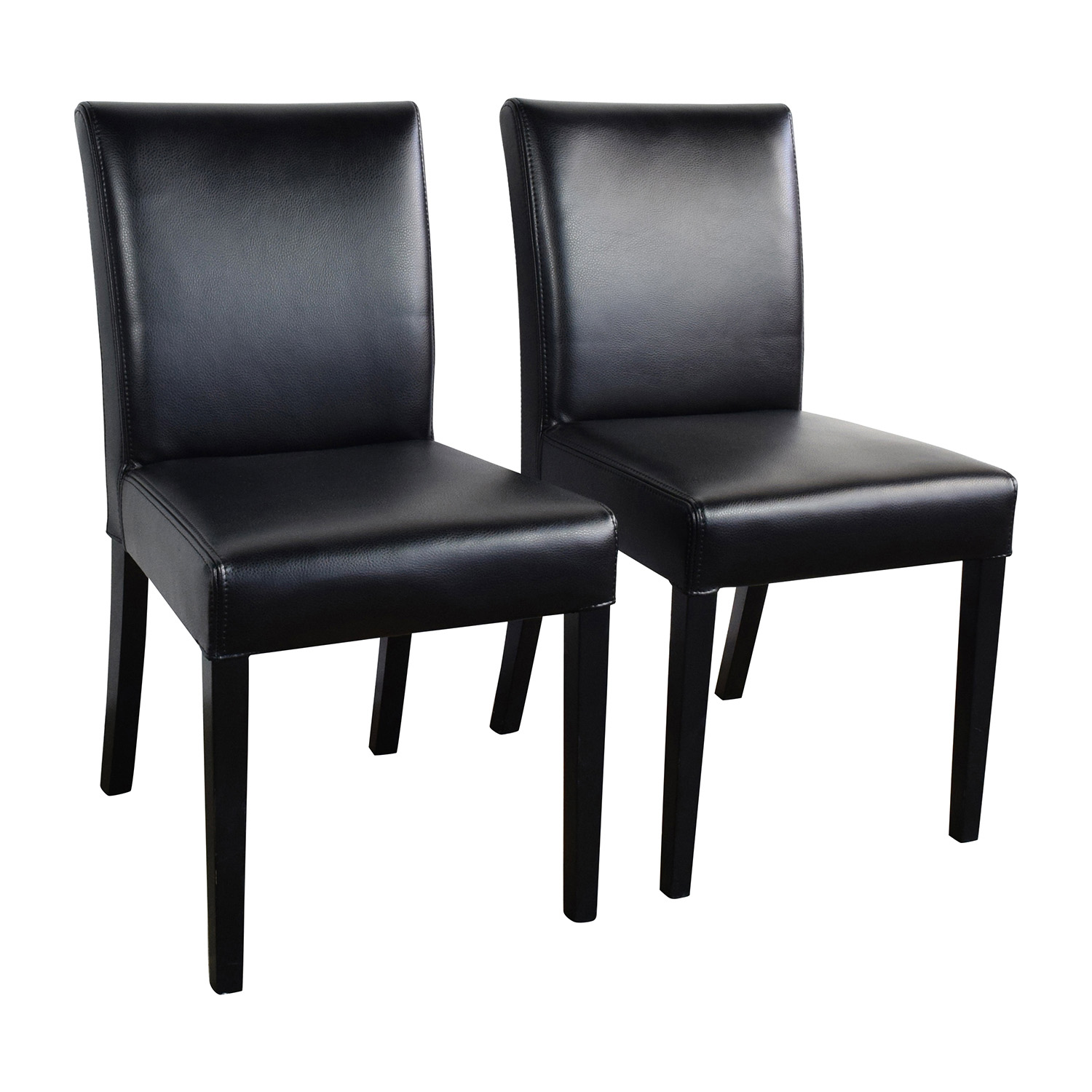 ... Crate And Barrel Crate U0026 Barrel Lowe Onyx Black Leather Chairs Black ...