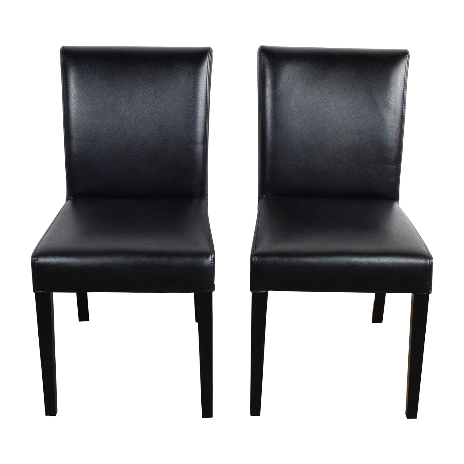 Crate and Barrel Crate & Barrel Lowe Onyx Black Leather Chairs on sale