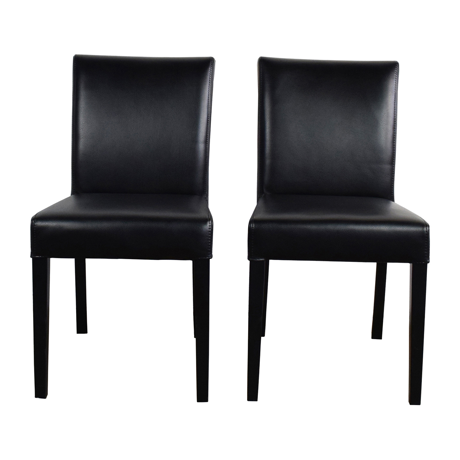 shop Crate & Barrel Lowe Onyx Black Leather Chairs Crate and Barrel Chairs
