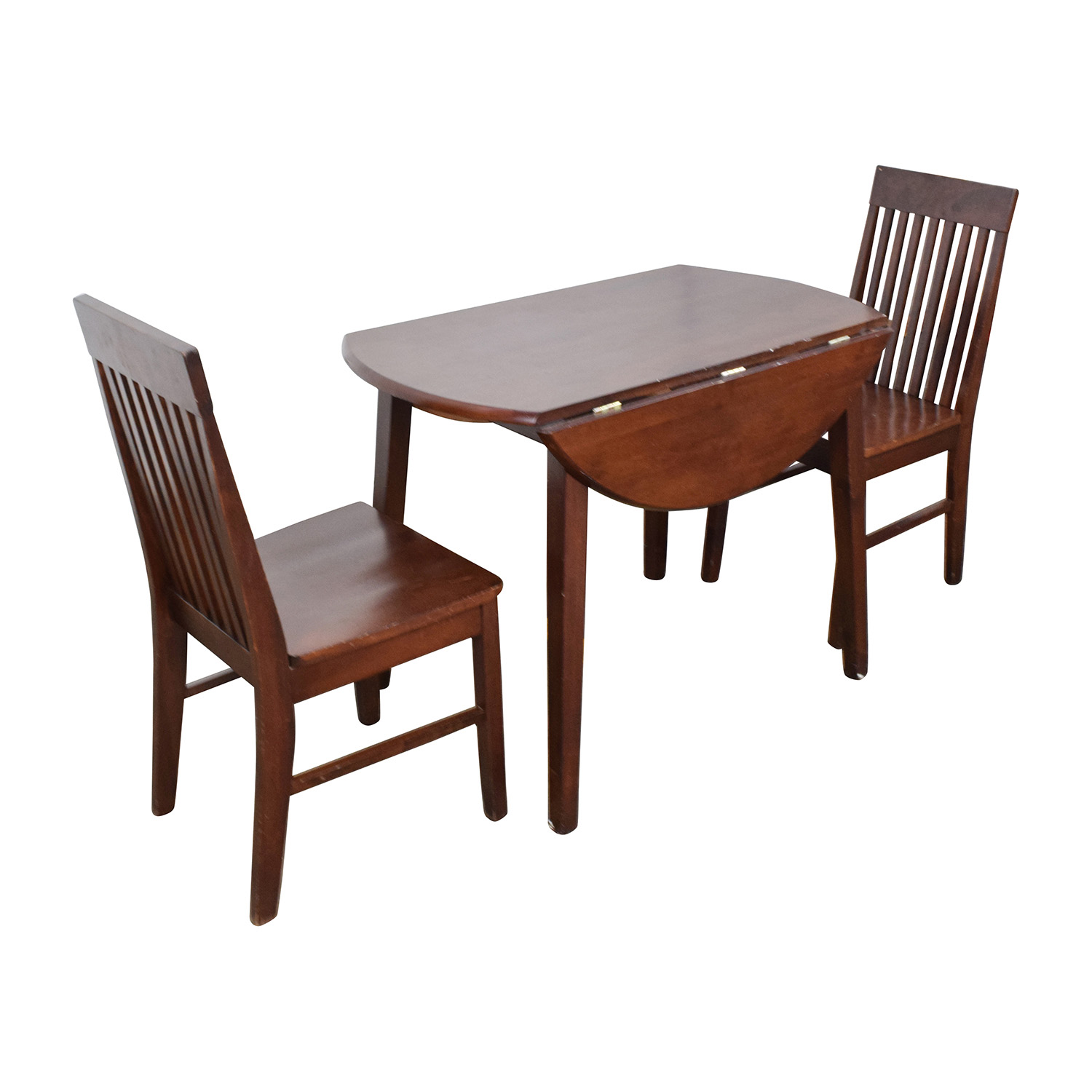 60 off round dining table with folding sides and chairs for Folding dining table