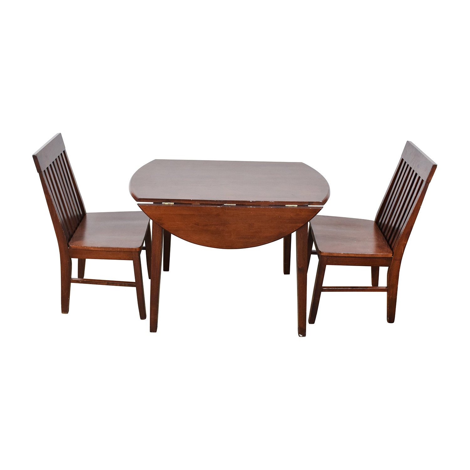Round Dining Table with Folding Sides and Chairs on sale