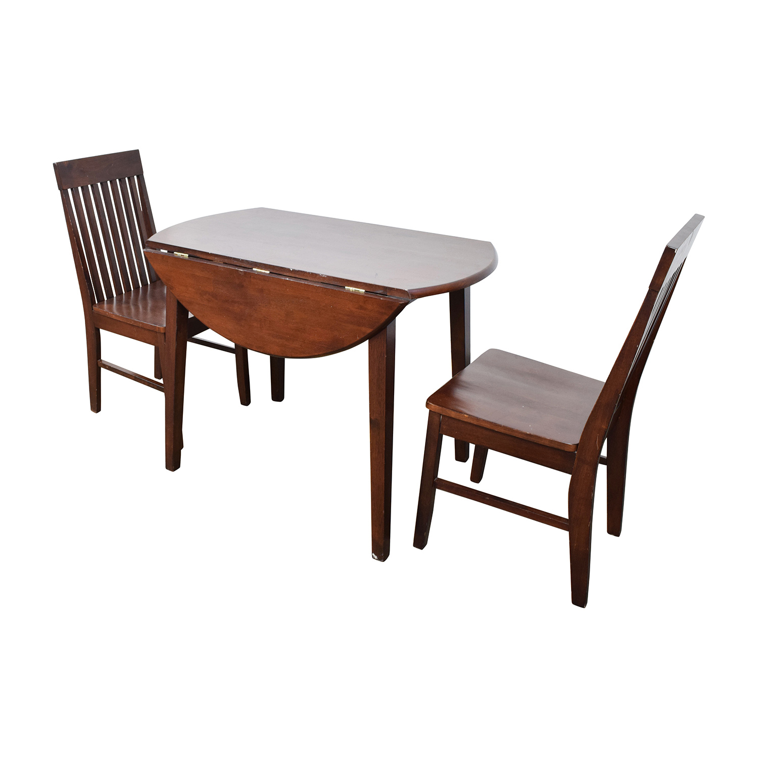 Secondhand Chairs And Tables: Round Dining Table With Folding Sides And Chairs