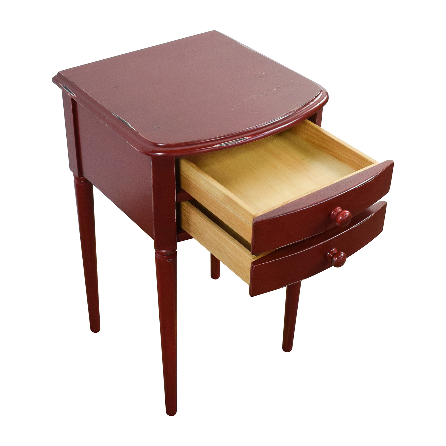 Deep Red 2-Drawer Nighstand dimensions
