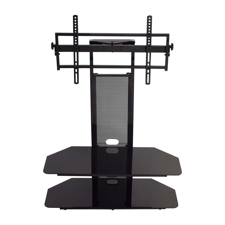 shop Transdeco Glass Black TV Stand Transdeco Sofas