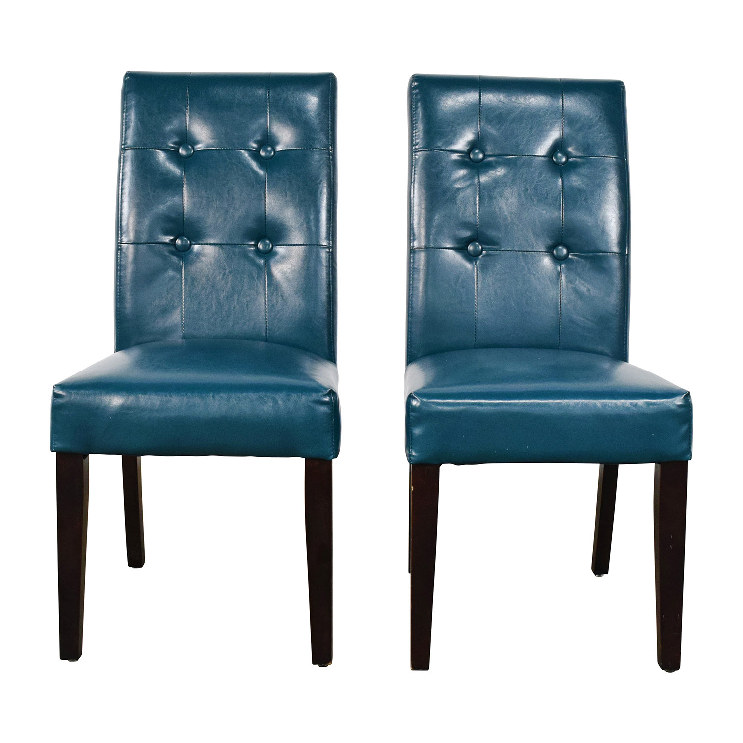 68% OFF Nicole White Leather Dining Chairs Chairs