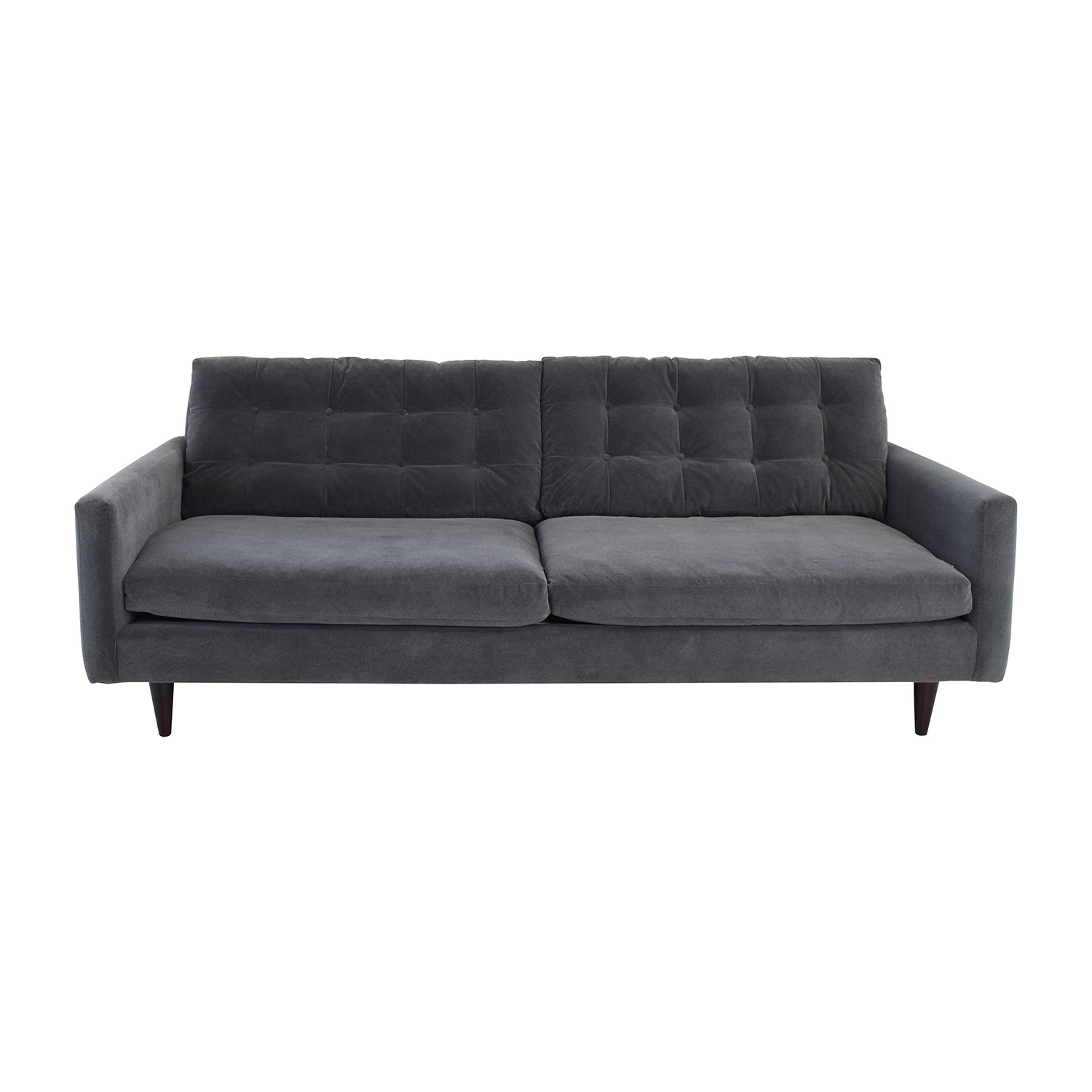 Crate & Barrel Petrie Mid Century Grey Sofa Crate and Barrel