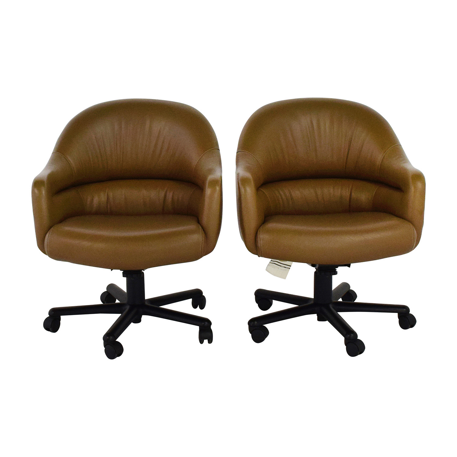 85% OFF Pair of Brown Leather fice Chairs Chairs