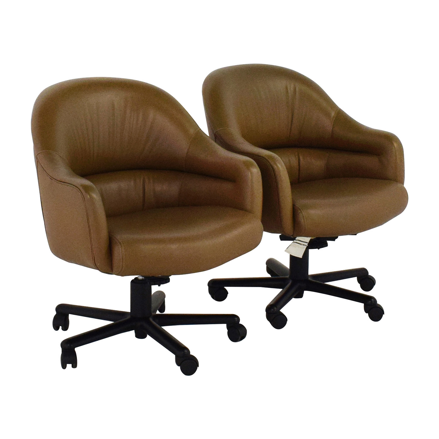 90% OFF Pair of Brown Leather fice Chairs Chairs