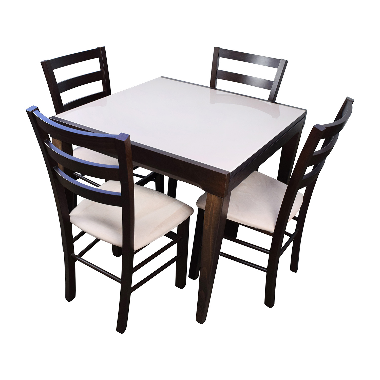 82 Off Macy S Cafe Latte Five Piece Extendable Dining Set Tables