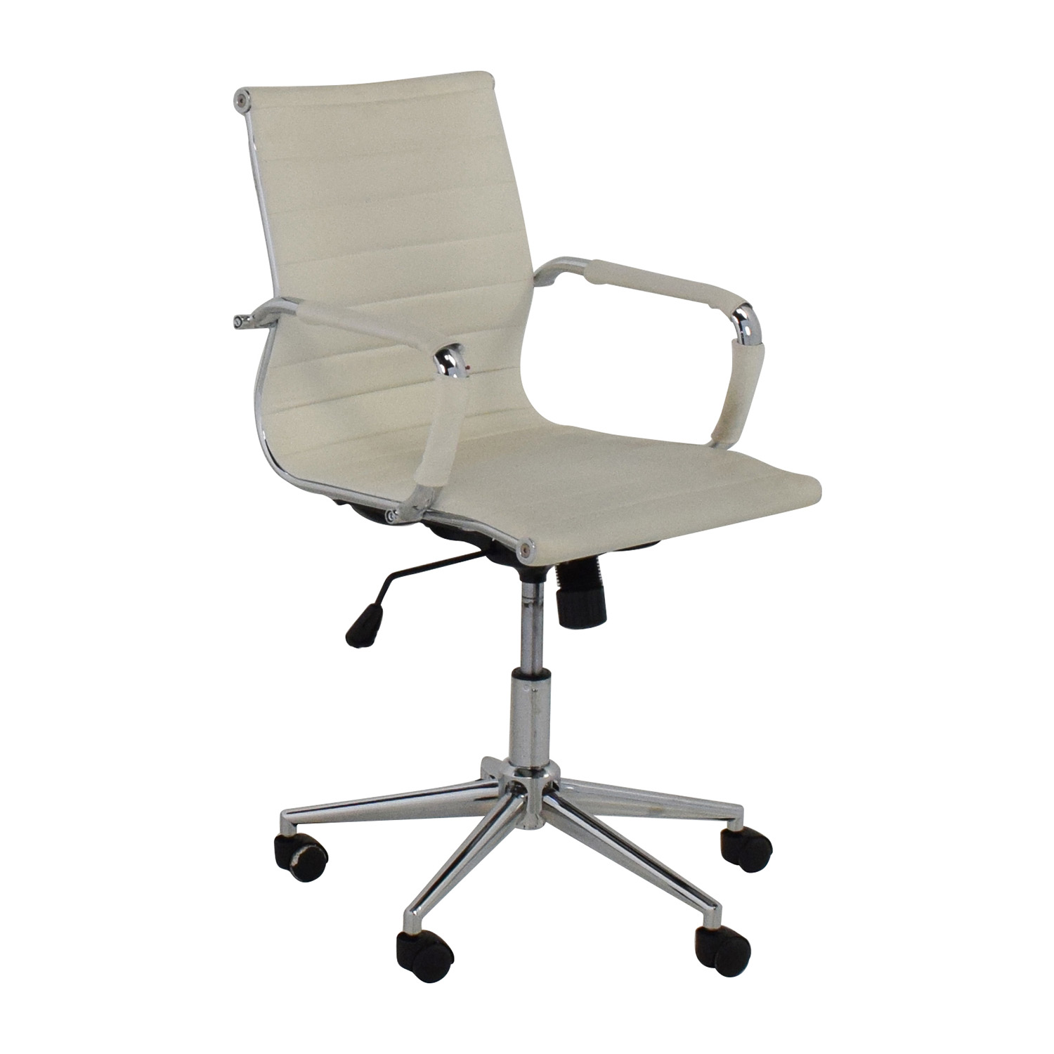 32 off 2xhome 2xhome modern mid back white faux leather for Modern leather office chairs