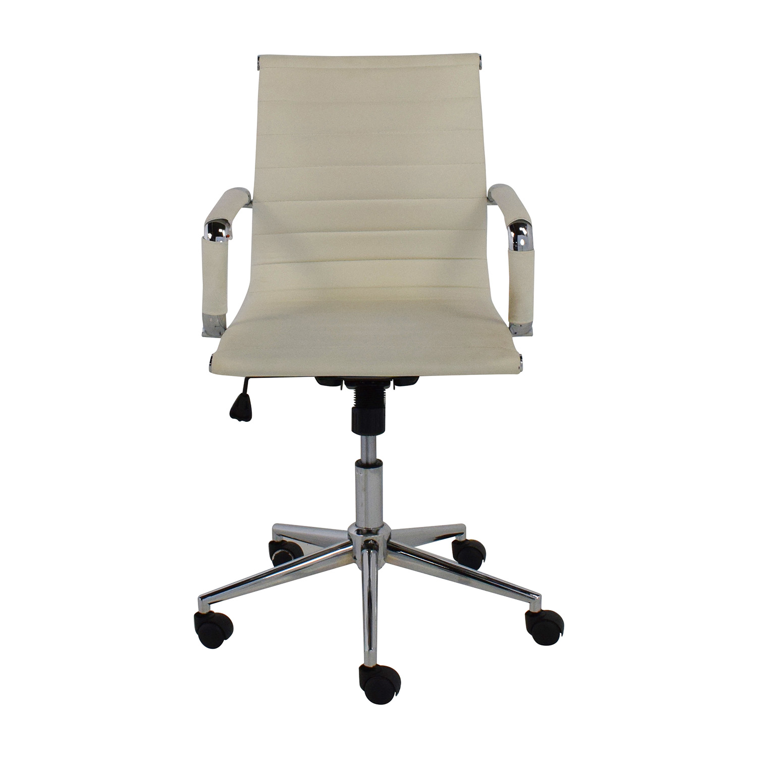 2xhome 2Xhome Modern Mid Back White Faux Leather Office Chair nj