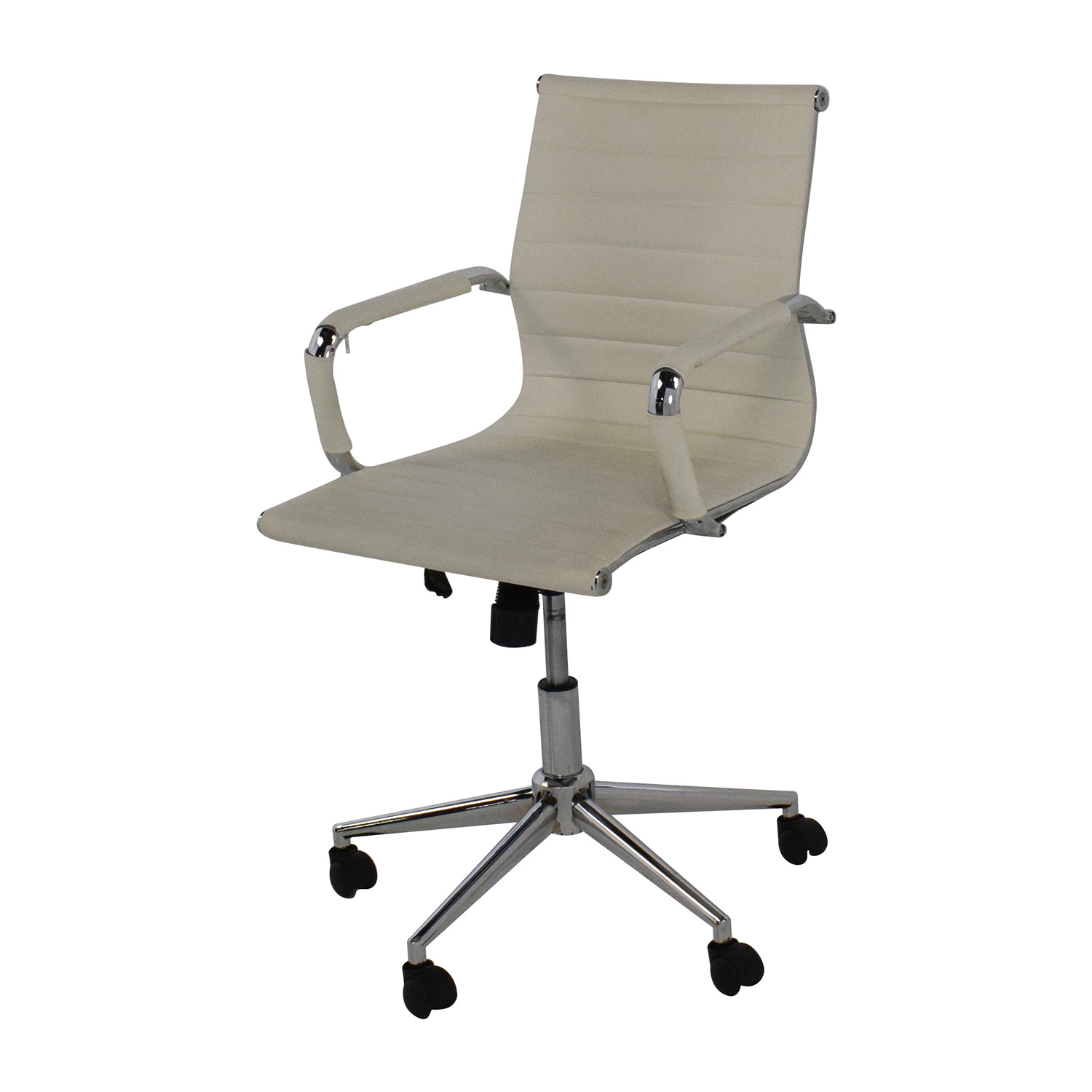 32 off 2xhome 2xhome modern mid back white faux leather for Contemporary office chairs modern